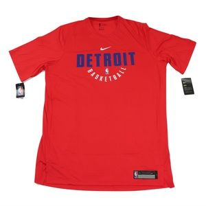 New Nike Detroit Pistons Team Issued Shirt Red 2XL